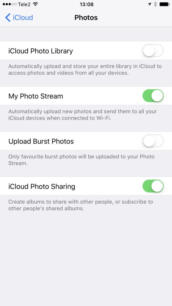 Piltide iCloudi laadimise seade iOS platvormil