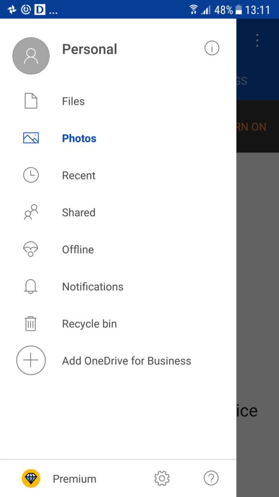 """""""Hamburgeri menüü"""" Microsoft One Drive Android versioonis"""