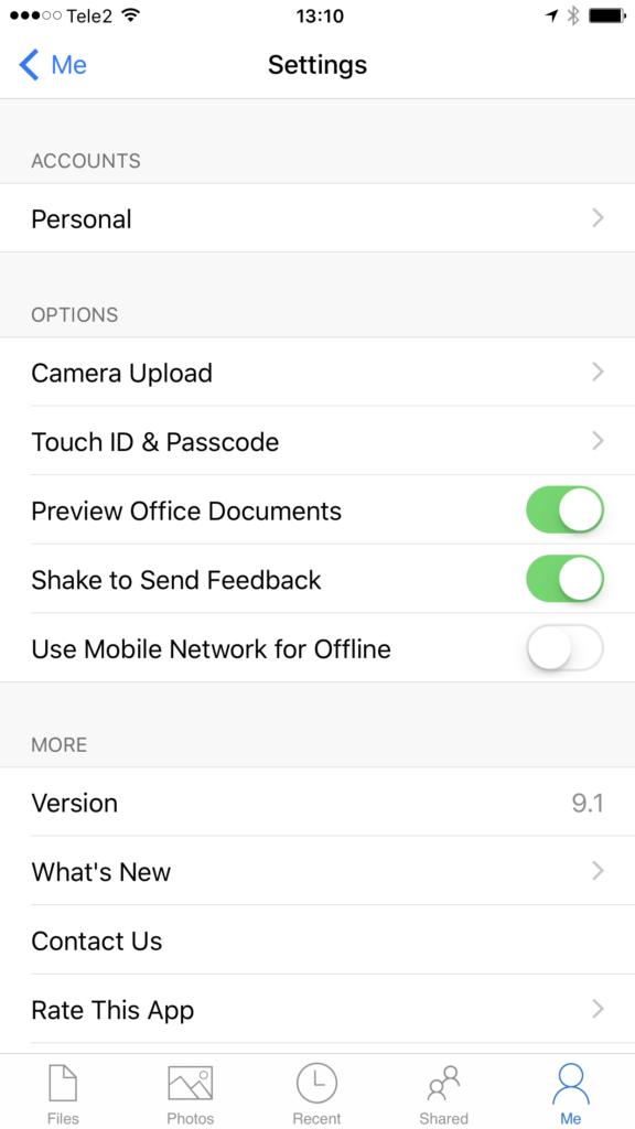Seadete sektsioon Microsoft One Drive iOS versioonis